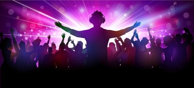 DJ illustratie voor publiek met zijn armen wijd